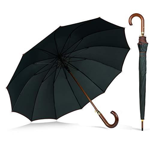 ADRIANO PORCARO® - XXL Automatik Regenschirm - windsicher Stockschirm aus Holz - 12 fache Fiber Verstrebung - groß stabil & windresistent sturmfest - 115cm Ø (Olivgrün)