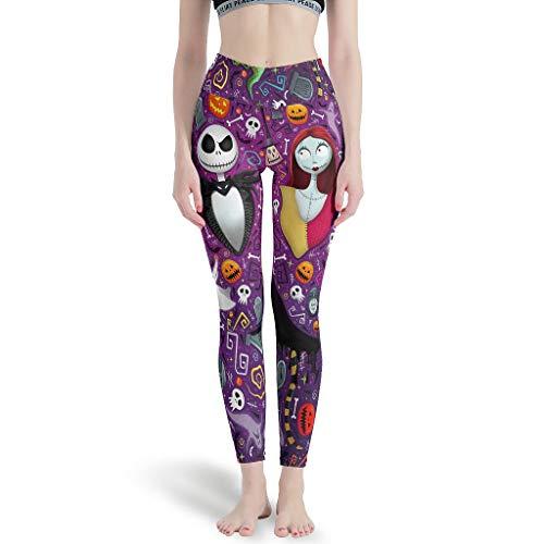 y Jack Pesadilla antes de Navidad Halloween Horror Mujeres Cintura Alta Control de barriga Pantalones de Yoga Casual Deporte Pantalones para Jugar