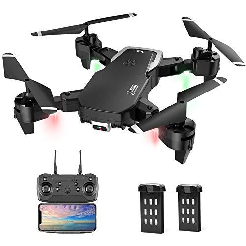 Drohne mit Kamera, Drohne für Anfänger, 1080P HD Faltbar RC Quadcopter mit FPV Wlan Live Übertragung, Flugzeit 30 Minuten(2 Akku), Kopfloser Modus/Flugbahnflug/3D Flip