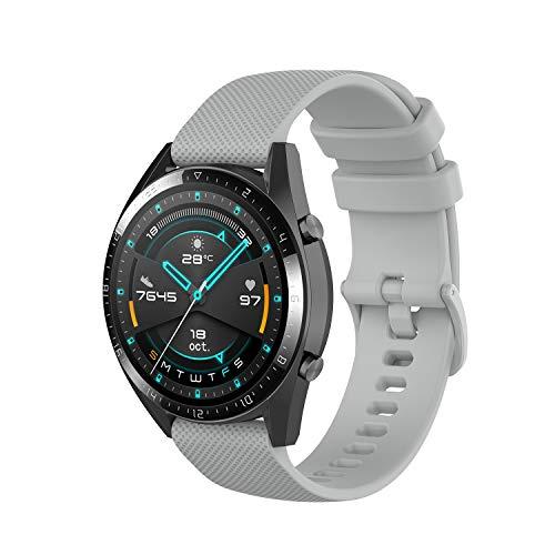 Wownadu 22MM Correa Compatible con Fossil Gen 5, Galaxy Watch 3 45MM Correa, Pulsera Deportiva Silicona Gris Repuesto Compatible con Garmin Vivoactive 4 (Sin Reloj)
