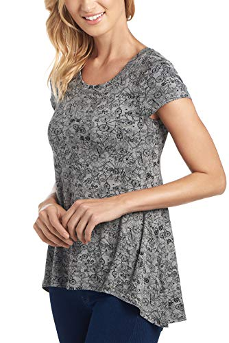 Cupio Womens Scoop Neck Conversational Swingy High-Low Tee with Cap Sleeves