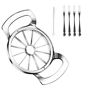 【Latest Upgrade】 Upgraded Version 12-Blade Extra Large Apple Slicer,Each blade has a 360° seamless reinforced welding point and is highly fixed on the central core ring.Larger Welded Area.It's stronger and more durable than the previous 4 welding poi...