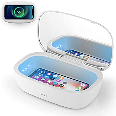 UV Light Sanitizer Box, Portable UVC phone Sanitizer Box with Wireless Charger for Cell phone, Makeup Tools, Glasses, Earphone, Watches, Jewelry, Keys, 6 UVC LEDs, Sterilization Rate Up to 99.9%