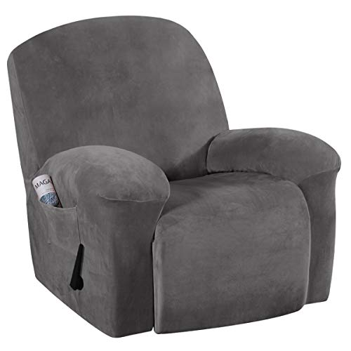 Recliner Chair Cover Velvet Plush 1-Piece Recliner Covers for Large Recliner, Soft Thick Luxury Velvet Furniture Protector with Elastic Bottom, Anti-Slip Foams Attached (Recliner, Grey)