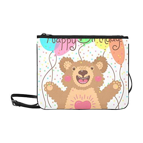 WYYWCY Nette alles Gute zum Geburtstagkarte lustige Bärn-Gewohnheits-hochwertige Nylon dünne Handtasche Kreuzkörper Beutel-Schulter-Beutel