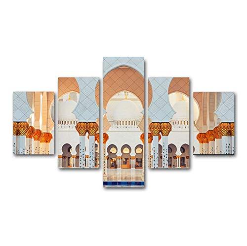 Impresiones en lienzo HD Pintura de 5 piezas Arquitectura islámica Cartel Arte de la pared Sala de estar musulmana Cocina Pared Imágenes modulares Decoración de arte M2 200x100 cm