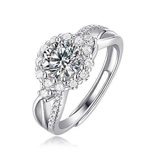 JIARU Anillo de plata de ley 925 para mujer, anillo de boda, anillo de moissanita de 1 quilate para niña, anillo de regalo
