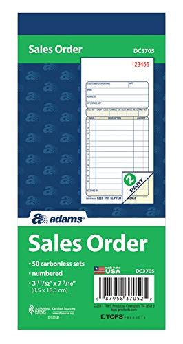 Adams Sales Order Book, 2-Part, Carbonless, White/Canary, 3-11/32 x 7-3/16 Inches, 50 Sets per Book (DC3705)