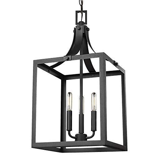 Sea Gull Lighting 5240603-12 Labette Medium Three-Light Hall / Foyer Hanging Modern Light Fixture, Black Finish