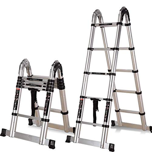HUYP Multipropósito Plegable Escalera Plegable de Aluminio de aleación Cuadro Altura Ajustable Ingeniería Escalera Antideslizante del Pedal fácil de Llevar (Size : 1.6+1.6m)