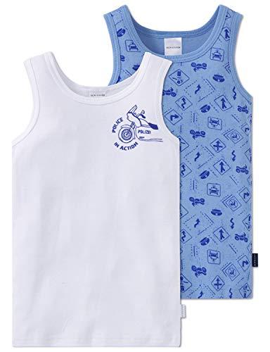 Schiesser Jungen Multipack 2pack Hemd 0/0 Unterhemd, Mehrfarbig (Blau/Weiß), 116 (2er Pack)