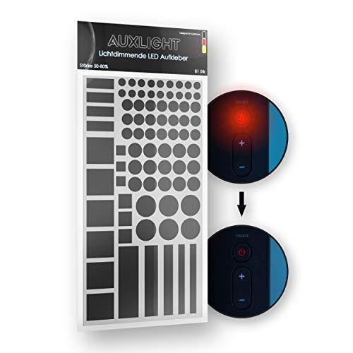 Auxlight LED Abdeckung, Lichtdimmer Folie selbstklebend, Aufkleber Elektronikgeräte, Abdunklungsfolie, Home Office, Beleuchtung, Lichtwecker, abdunkeln, dimmen 50-80%, Schlafhilfe, besser schlafen