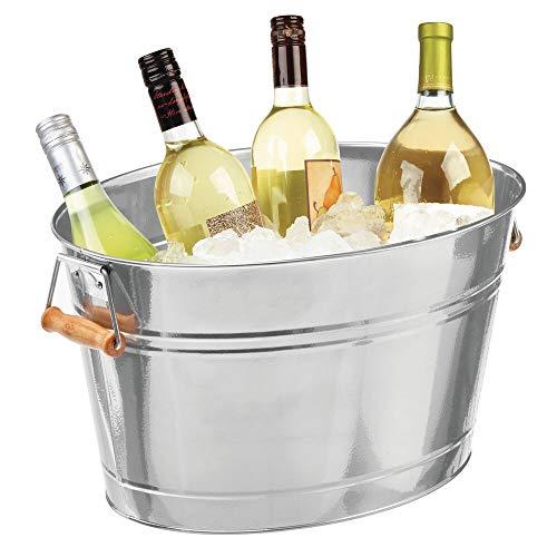 mDesign Champanera de metal – Enfriador de botellas decorativo con asas – Ideal como cubo para enfriar bebidas como vino, cerveza, cava o refrescos – plateado