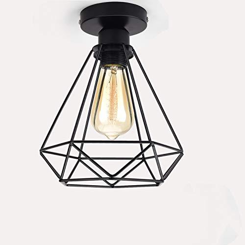 Hansiro Deckenleuchte | Retro Deckenlampe aus Stahl | 18 cm Ø Deckenbeleuchtung für Wohnzimmer Schlafzimmer Flur | E27 Fassung max. 40 Watt | Schwarz