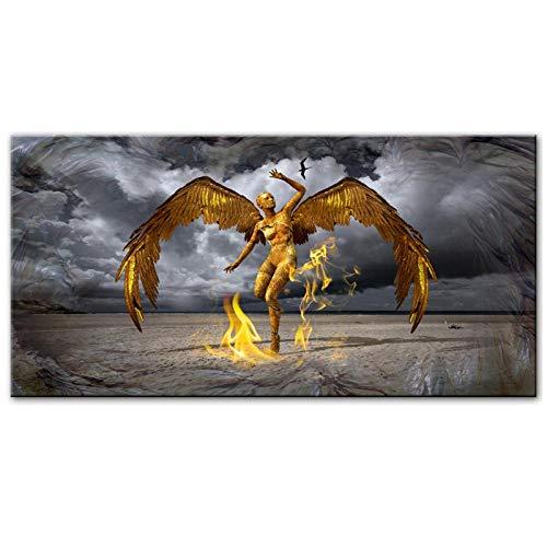 HDKSA Goldene Farbe Engel Wandplakat Moderne Flügel Leinwand Kunstdrucke Abstrakter Engel Mit Feuer Cuadros Bild Für Wohnzimmer Wanddekoration-50 * 100cm ungerahmt