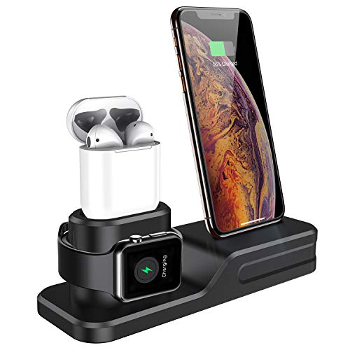 seacosmo Stand 3 in 1 per Air pods iwatch, Silicone iPhone Ricarica Caricatore Dock Station per Apple Watch 4/3/2/1 AirPods e iPhone XMAS/XR/X/8/8 Plus/7 Plus/6s, Nero