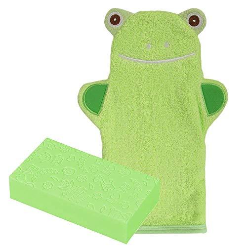 Waschhandschuh Baby, ZoneYan Waschlappen Mit Tiermotiv, Kinder Waschlappen Frottee, Badetuch Baby, Waschhandschuh Handpuppe, Fröhlichen Badespaß Spiel-Waschhandschuh (grün)