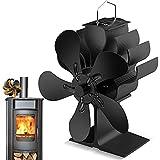 Ventilador de estufa 2021, funcionamiento silencioso, ventilador de chimenea para estufas, estufas de leña y chimeneas, respetuoso con el medio ambiente, sin electricidad (5 hojas)