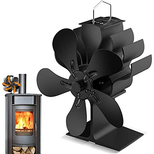 Ventilatore per Stufa, ventola del camino a funzionamento termico, per stufe a legna, funzionamento silenzioso, ecologico, efficiente distribuzione del calore (5 pale)