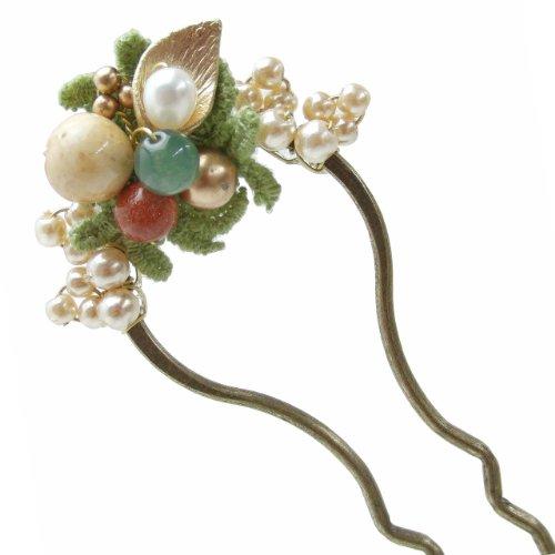 hazlm086bpngr ヘアアクセサリー 髪飾り (リトルムーン) かんざし 一桃 -いつみ- グリーン