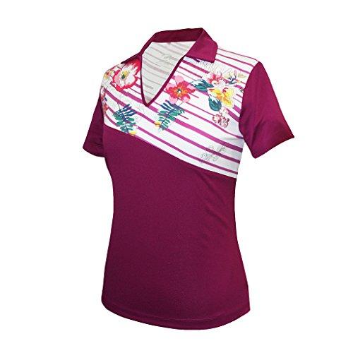 Monterey Club Women's Prep Diagonal Stripe Block Polo Shirt #2306 (Mulberry/White, X-Large)