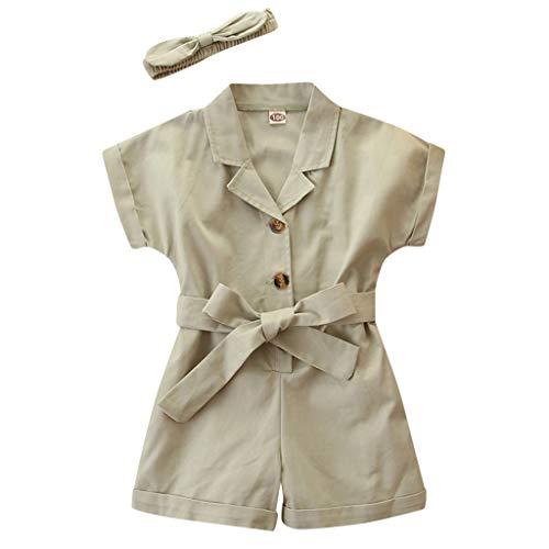 Kobay Kleinkind Kinder Baby Mädchen Solid Romper Jumpsuits Stirnbänder Outfits Mädchen Kurzarm Jumpsuit Overalls Jumpsuit (2-7Y)