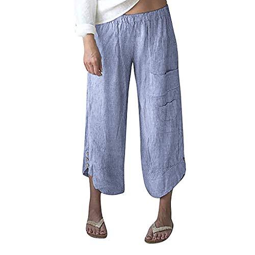 RISTHY Suave Pantalones Anchos Algodón y Lino Pantalones de Fitness Pantalón de Rayas de Piernas Anchas Casual Tallas Grandes Harem Pantalón Polainas para Danza Yoga Pilates