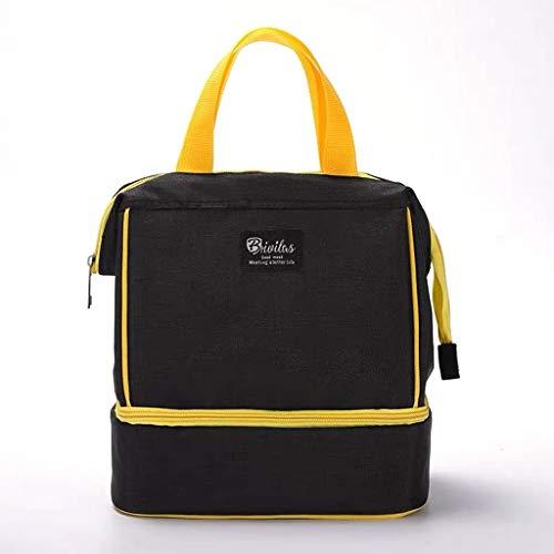 Bolsa de almuerzo Suave a prueba de fugas Bolsa de almuerzo mediana for la oficina de trabajo - con correa ajustable for el hombro Bolsa de almuerzo reutilizable for niños adultos ( Color : Black )