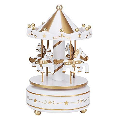 Merry-Go-Round musiklåda karusell hästmusiklåda babyrum nattetid heminredning julbröllop födelsedagspresent (vit)