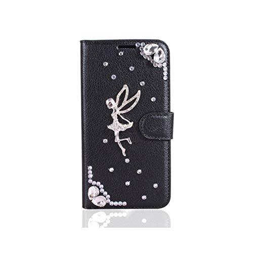 Phone Case - Carcasa de lujo para LG X Power 2 Stylus 3 Pen 5 G6 Q6 Q60 G7 Fit Q7 G8 ThinQ K40 K40S K50 K50S K51 Flip PU con tarjetero, color negro
