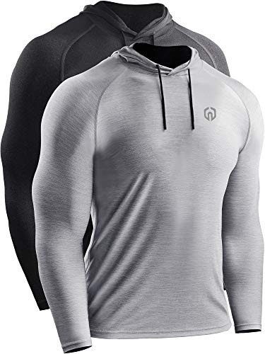 Neleus Men's 2 Pack Dry Fit Running Shirt Long Sleeve