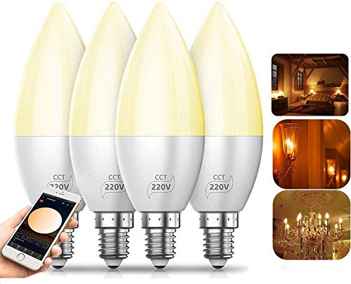 Smart LED Lampe Bluetooth Mesh E14 Dimmable CCT LED Birne 4W 220V Farbige Leuchtmittel APP, Musik & Mic Innenbeleuchtung Gruppensteuerung, Timer Funktion (4 pack)