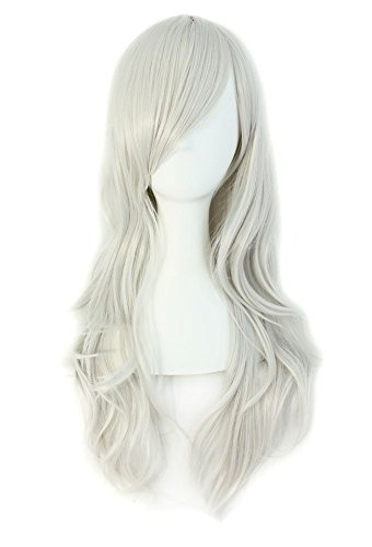 """MapofBeauty 28"""" 70cm Long Curly Hair Ends Costume Cosplay Wig (Silver Gray)"""