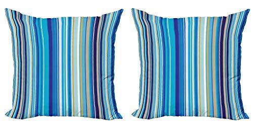 ABAKUHAUS Azul Set de 2 Fundas para Cojín, Las Rayas Verticales del Arte Retro, con Estampado en Ambos Lados con Cremallera, 50 cm x 50 cm, Mostaza Azul Blanco