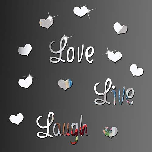 OOTSR Live Love Laugh Adesivi Murali Specchio, Forma di Cuore Decorazioni a Parete Adesive, Specchio Adesivi Wall Art per Soggiorno Camera da Letto Decorazione per Casa
