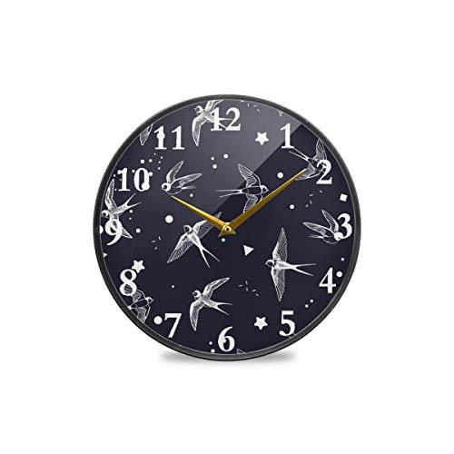 Runde Wanduhr, Vintage-Stil, Vogel, Fliegen, Stern, Punkte, dekorative Uhr, moderne Uhr, batteriebetrieben, geeignet für Esszimmer, Küche, Büro, Klassenzimmer, plastik, multi, 9.5x9.5in