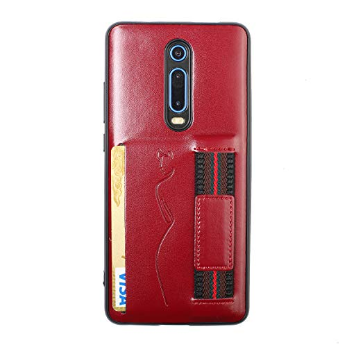 Xiaomi Rode rijst K20 telefoonhoesje, PU Lederen Hoesje Kaart Lederen Hoesje Beschermend Hoesje voor Smartphone Xiaomi Rode rijst K20, Rode Wijn