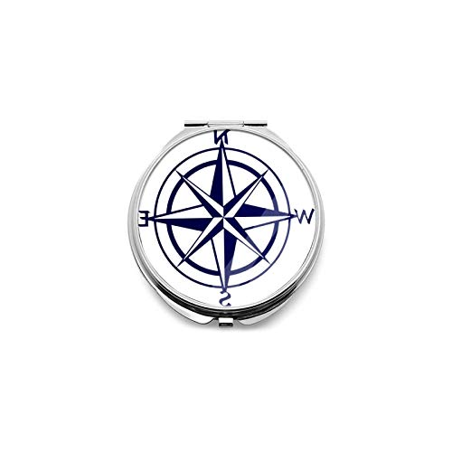 Best Travel Mirror Nautical Compass Round Magnifying Mirror Small Compact Mirror For Pocket, Portable Makeup Mirror, Foldable Travel Personal Mirror 1x & 2x Magnification