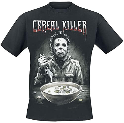 Halloween Michael Myers - Cereal Killer Hombre Camiseta Negro L, 100% algodón, Regular