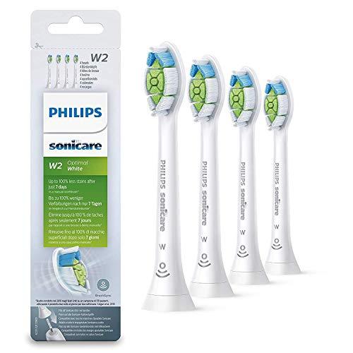 Philips Sonicare HX6064/10 Pack da 4 Testine di Ricambio W2 Optimal White Standard per Spazzolino Elettrico Sonico, con RFID, Per Denti Bianchi, Bianco