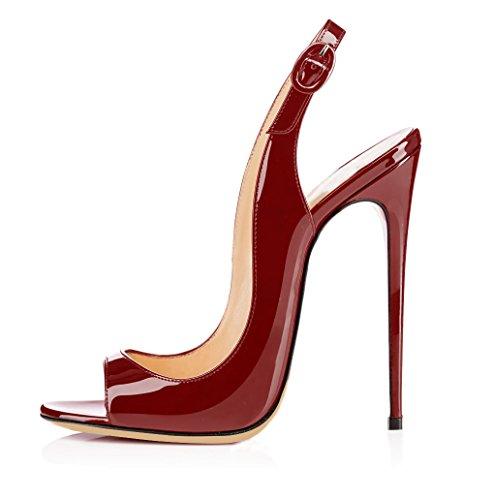 ELASHE - Zapatos de tacón - 12 CM Sandalias de Vestir - Tira de Tobillo Sandalias Burdeos EU39
