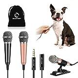 [2PCS] Mini Karaoke Microphone, Wootrip Mini Voice Recording Microphone Portable Karaoke Mic for Singing, Recording, Voice Recording(Black/Gold)