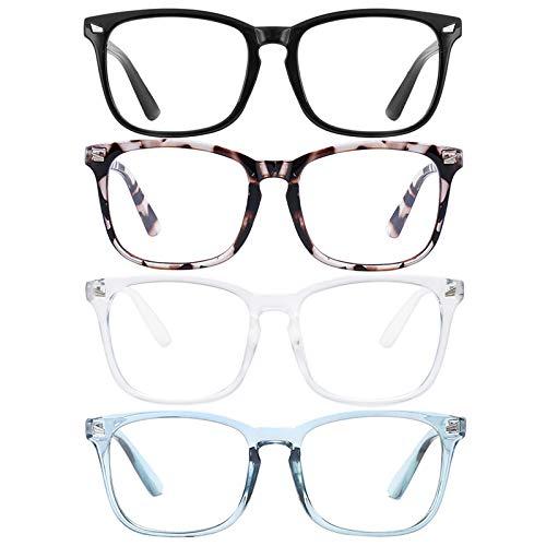 Blue Light Blocking Glasses Square Nerd Eyeglasses Frame Anti Blue Ray Computer Glasses Non Prescription (black/white/Leopard/Blue)