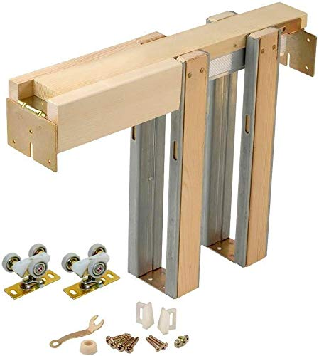 Johnson Hardware 1500 Series Commercial Grade Pocket Door Hardware For 2x4 Stud Wall (36 Inch x 96 Inch)