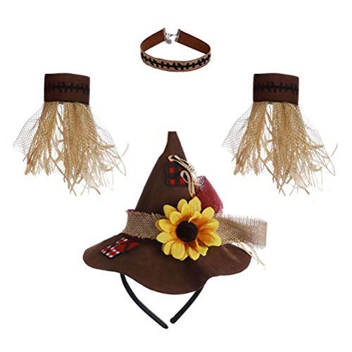 Hakka 1 Juego de Disfraces de Halloween para Niñas Accesorio de Disfraces de Espantapájaros para Niños Diadema de Collar de Pulsera de Sombrero de Paja