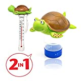 Chlorine Floater, Turtle Collapsible Floating Pool Chemical Dispenser & Turtle Pool Thermometer,Fits 3' Chlorine Tablets,Release Adjustable for Indoor & Outdoor Swimming Pool Hot Tub SPA(2 Pack)