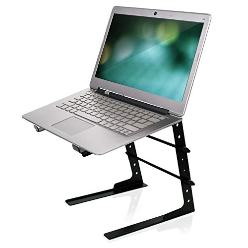 Pyle Portable Adjustable Laptop Stand - 6.3 to 10.9 Inch Anti-Slip Standing Table Monitor or Computer Desk Workstation Riser with Level Height Alignment for DJ, PC, Gaming, Home or Office - PLPTS25