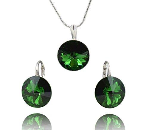 Crystals & Stones Rivoli Dark Moss Green – Juego de pendientes y colgante con cadena de plata de ley 925 con elementos originales de Swarovski – Joya con estuche