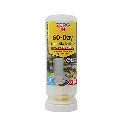 Zero In 60-Day Citronella Diffuser (Portable Insect Control, Lasts for 60 Days, Covers up to 40 cubic m)