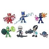 PJ Masks Set de Figuras de héroes y Villanos niños en Edad Preescolar, 7 Figuras de acción con 10 Accesorios, a Partir de 3 años